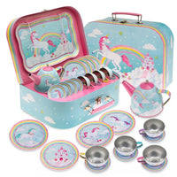 15pc. Rainbow Unicorn Tin Tea Set with Decorative Case