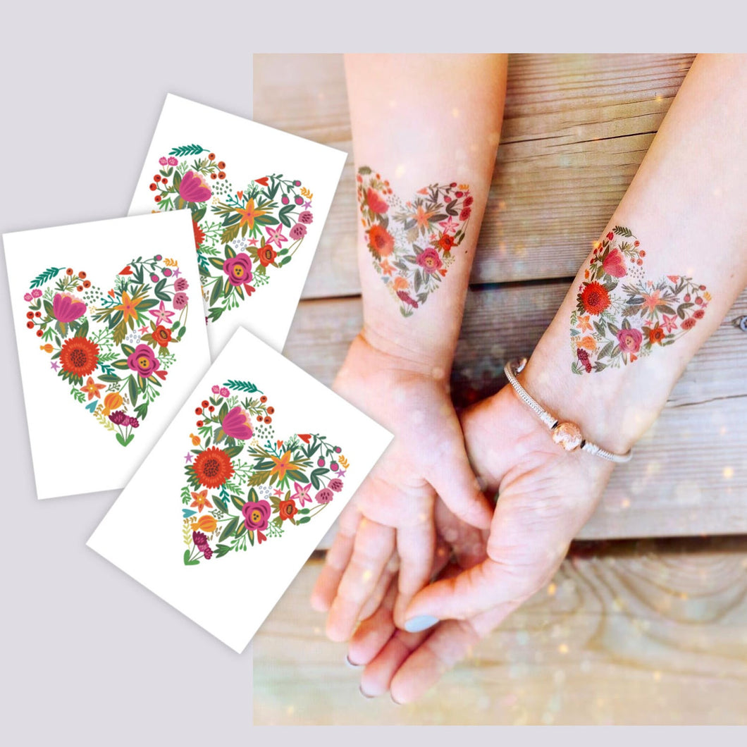 TEMPORARY TATTOO IN 'FLORAL HEART'