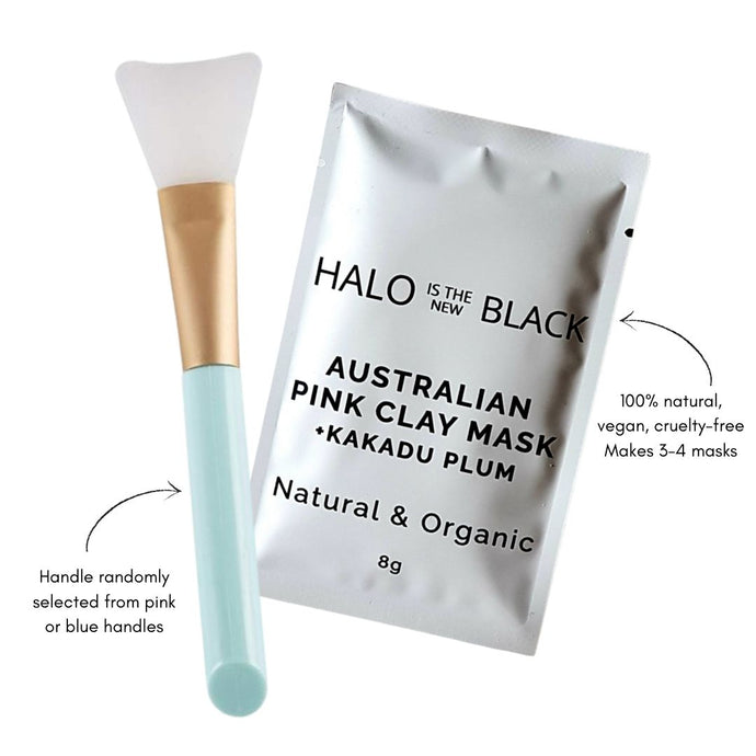 Halo is the new Black Australian Pink Clay Mask & Kakadu Plum Face Mask with silicone applicator