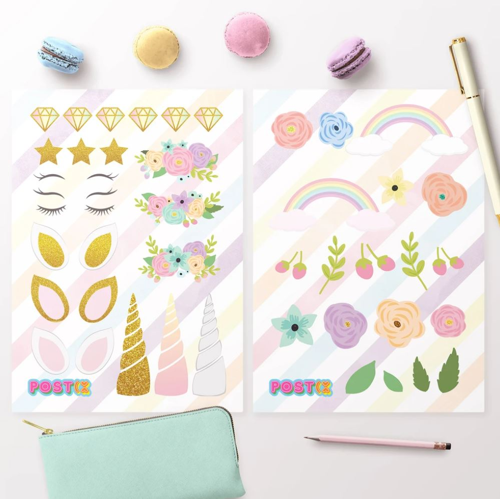 POSTIX STICKER SHEET - DESIGN A UNICORN STICKER SHEETS