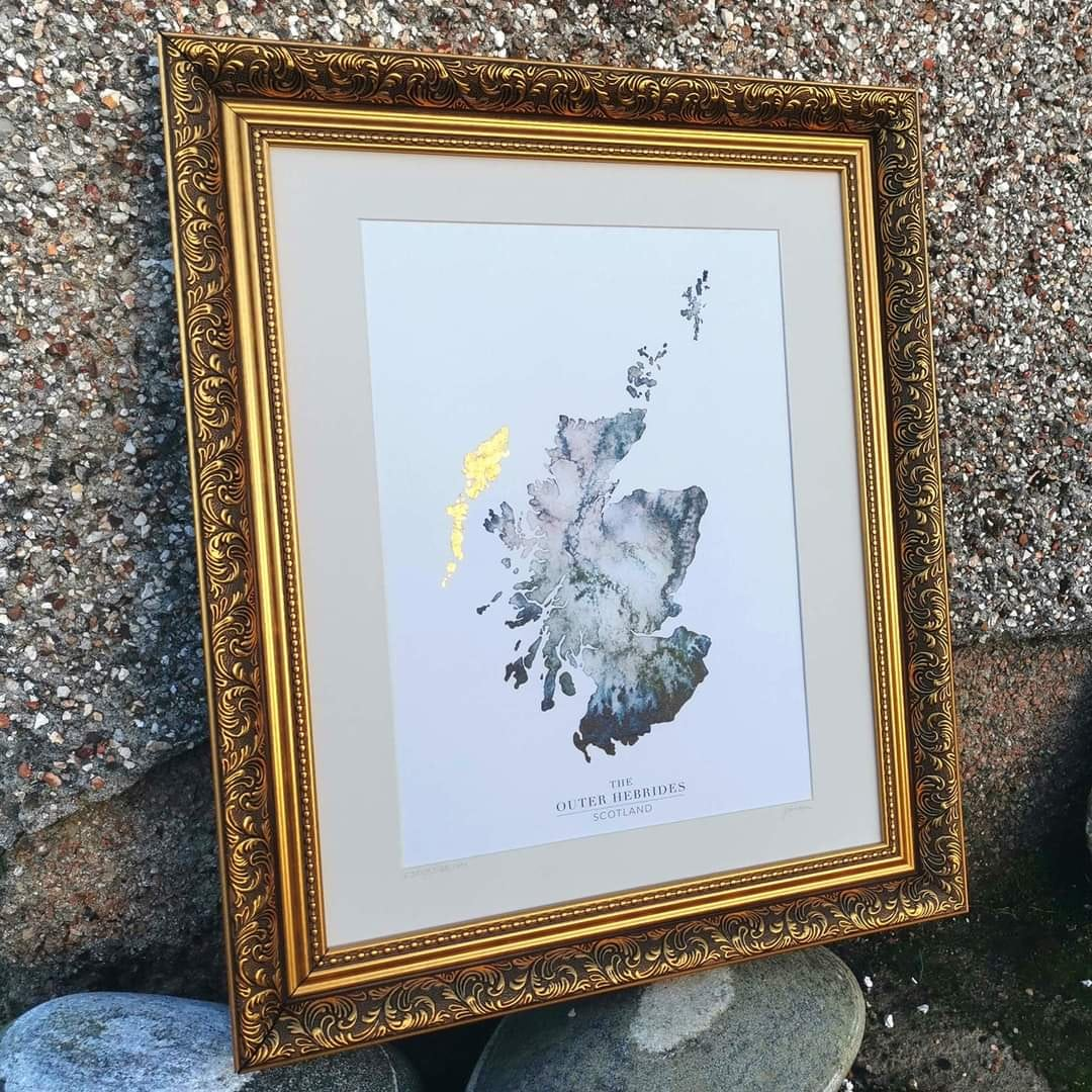 Outer Hebrides Watercolour Map Print