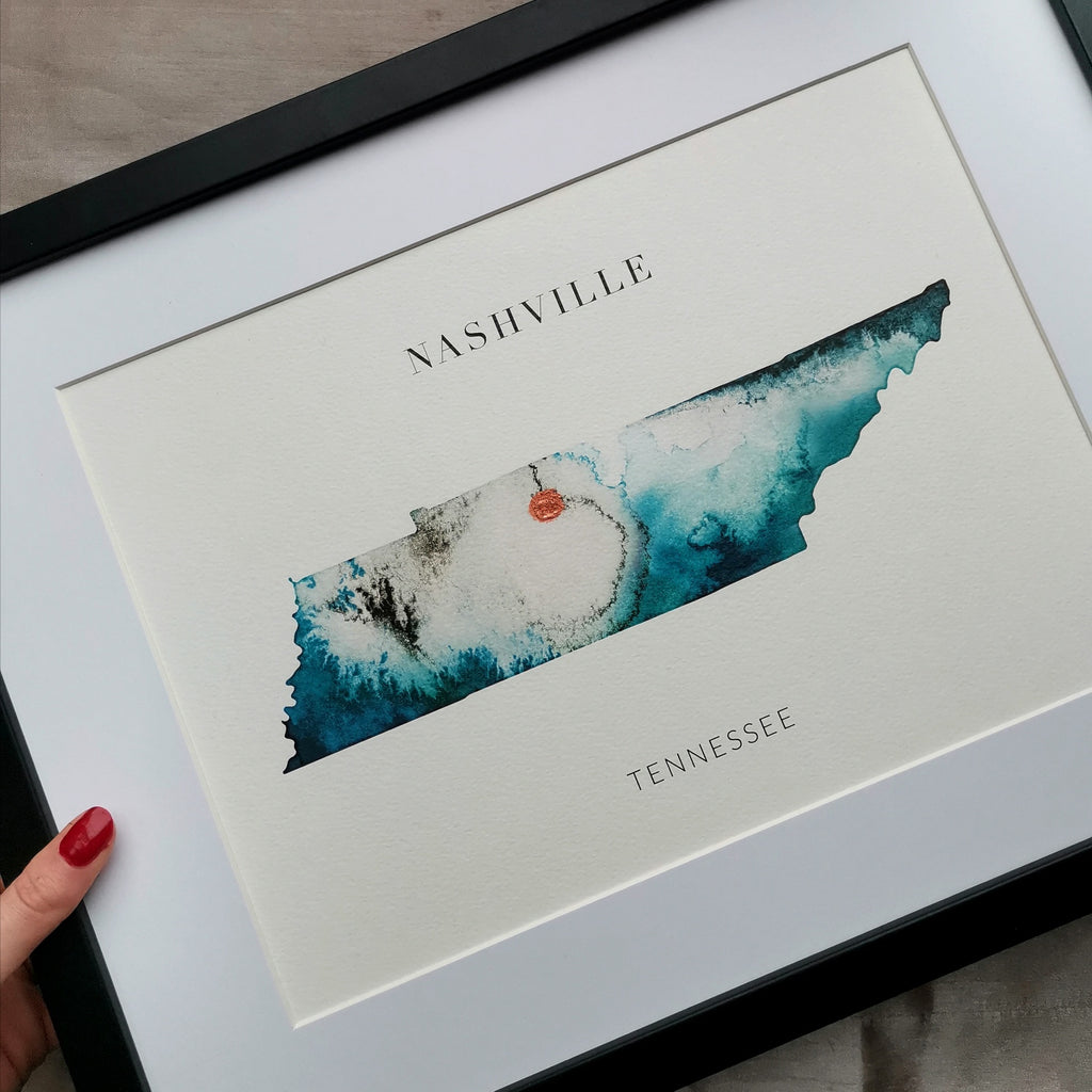 Nashville Watercolour Map Print