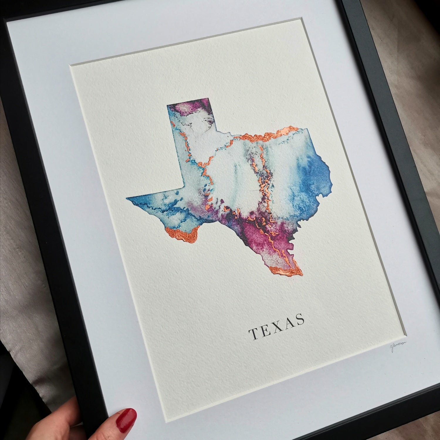 Texas Watercolour Map