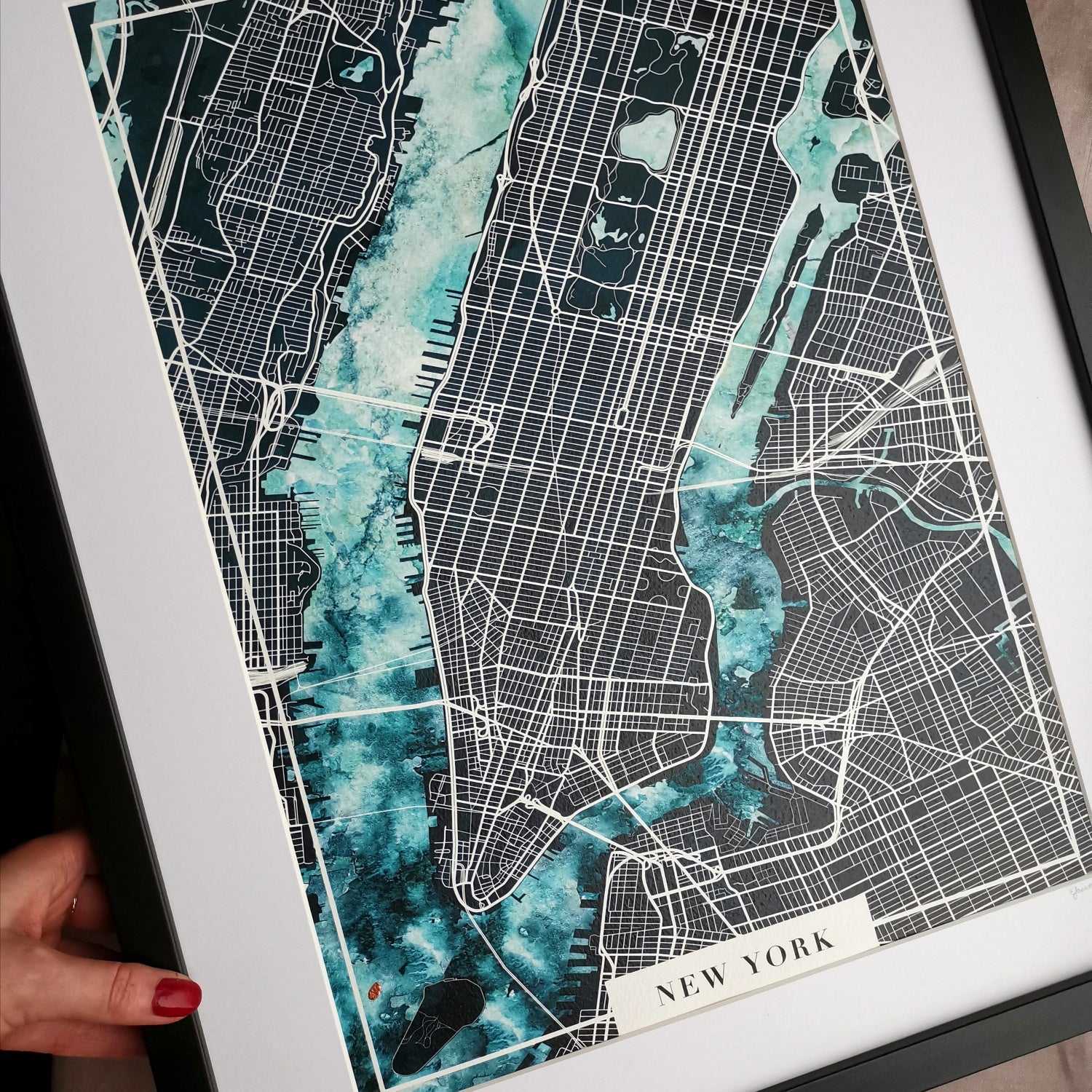 New York Watercolour Map