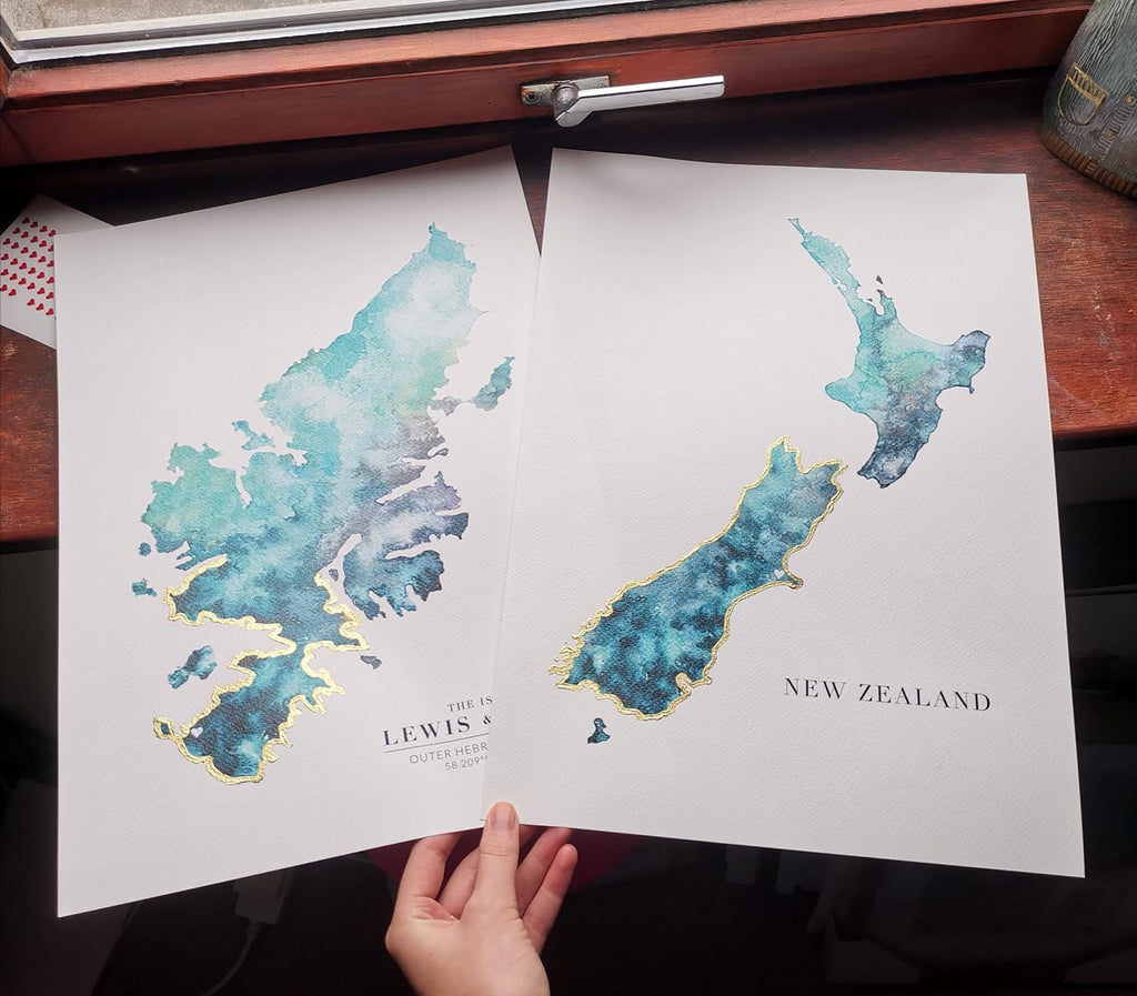 New Zealand watercolour map