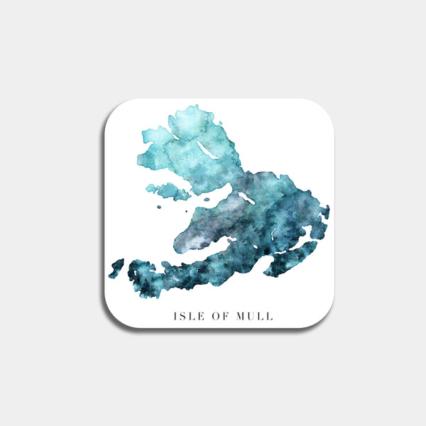 isle of mull watercolour map coaster