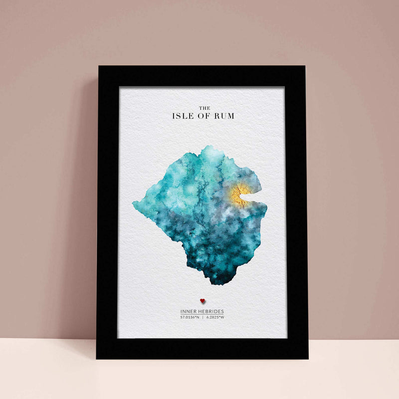 Isle of Rum Watercolour Gold Map - EJayDesign