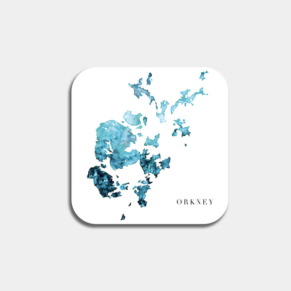 Orkney watercolour map coaster