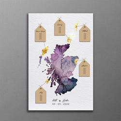 Watercolour Map Wedding Table Planner