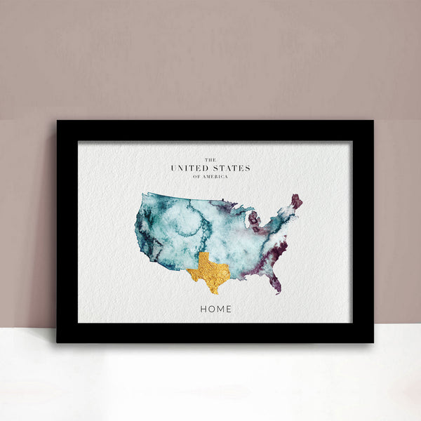 USA watercolour map ejaydesign texas