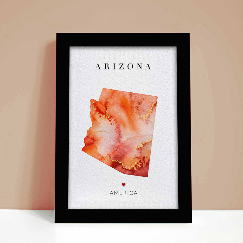 Arizona Watercolour Map Art