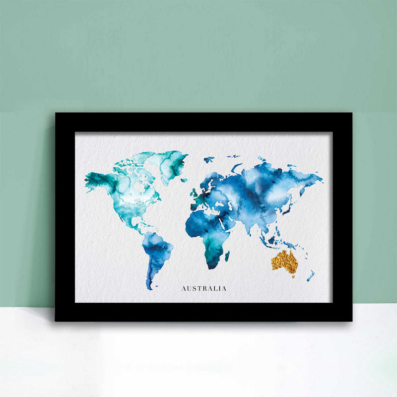 World Watercolour Map Personal Gift