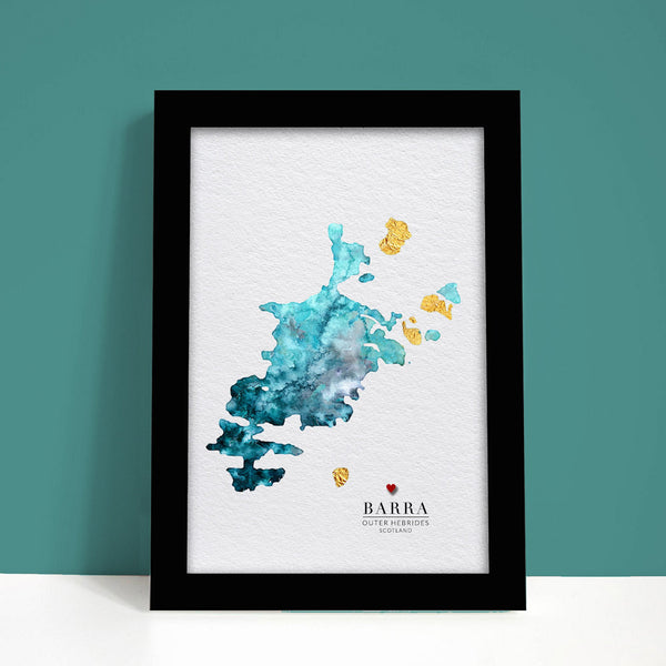 Barra Watercolour Map - EJayDesign