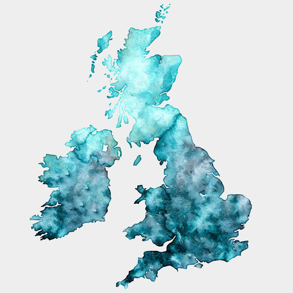 UK Gold Watercolour Map - EJayDesign