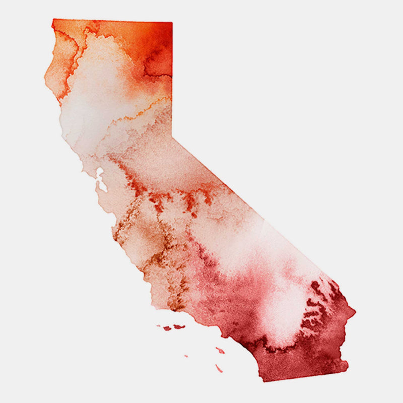 California Watercolour Map Personal Art Print