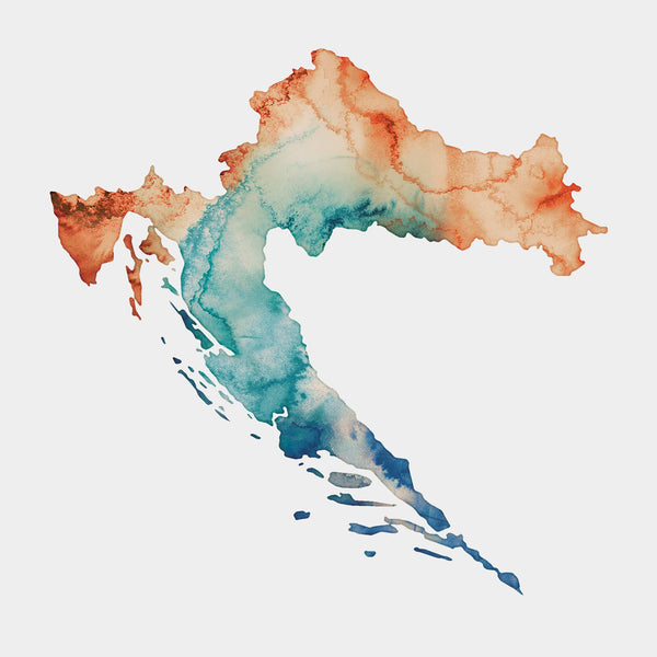 Croatia Split Dubrovnik Watercolour map