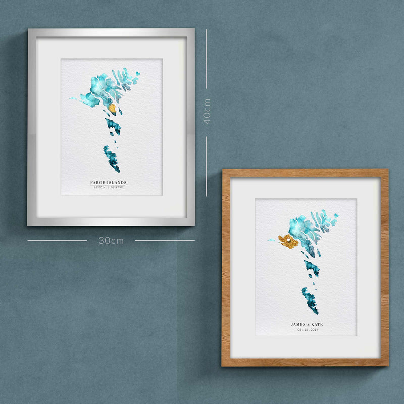 Faroe Islands Map Custom Gift Print