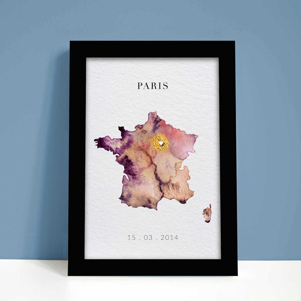 France Watercolour Map Customisable Art Gift