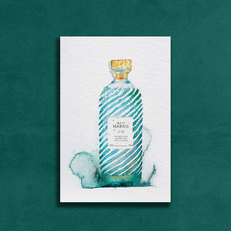 Harris Gin Watercolour Illustration with Gold Flaked Label