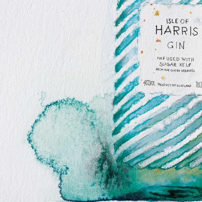 Harris Gin Watercolour Illustration Outer Hebrides