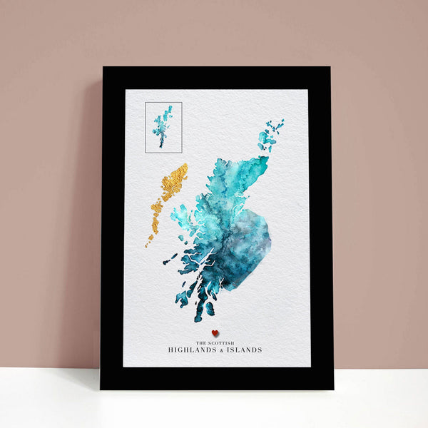 Scottish Highlands & Islands Watercolour Map