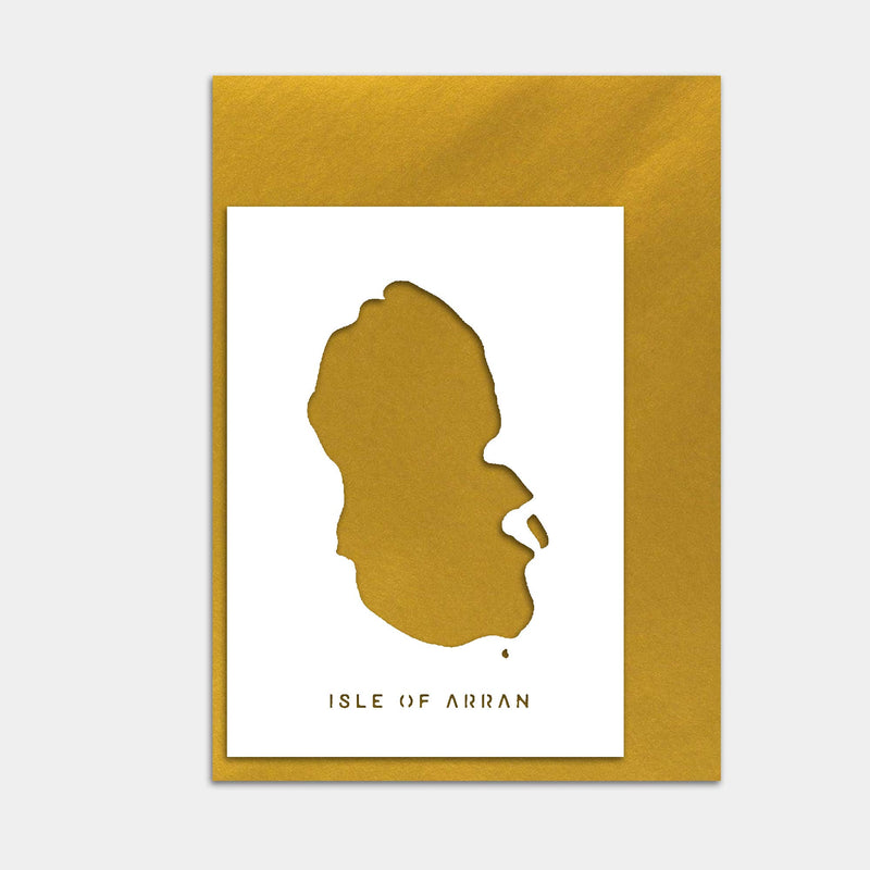 Isle of Arran Map Cut out Greetings Card