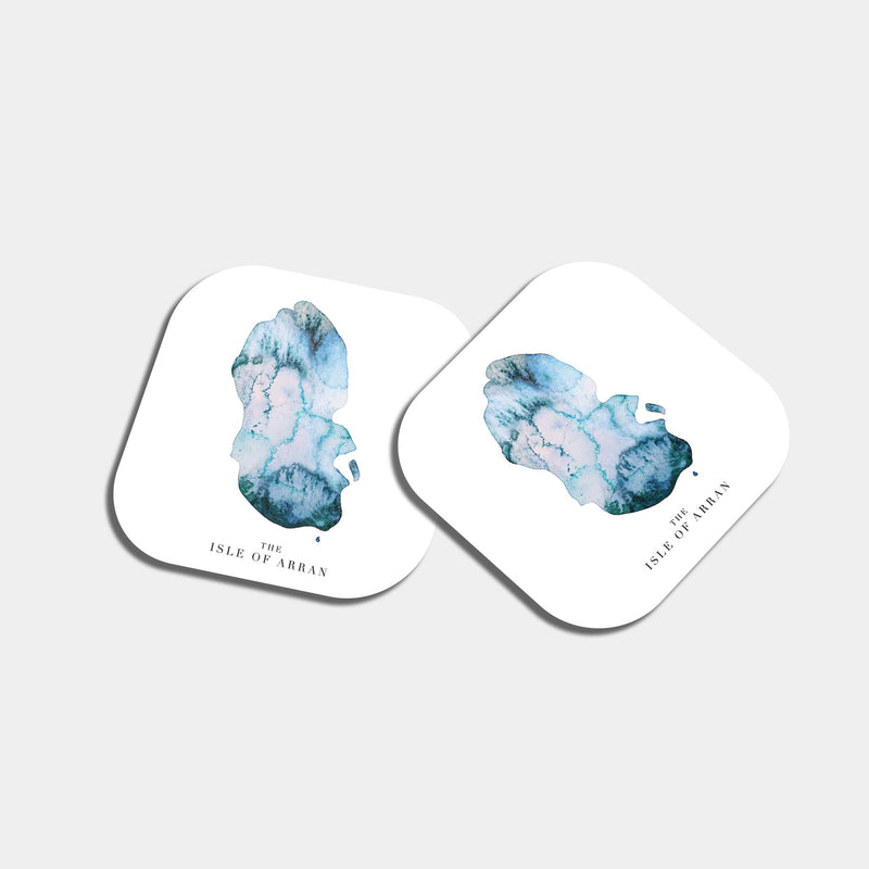Isle of Arran Watercolour Map Tea Coaster