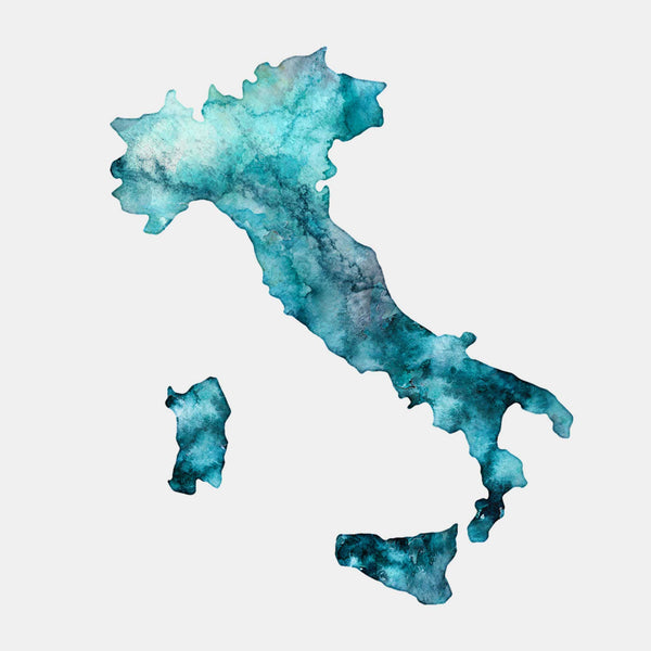 Italy Watercolour Map Art Customisable Print