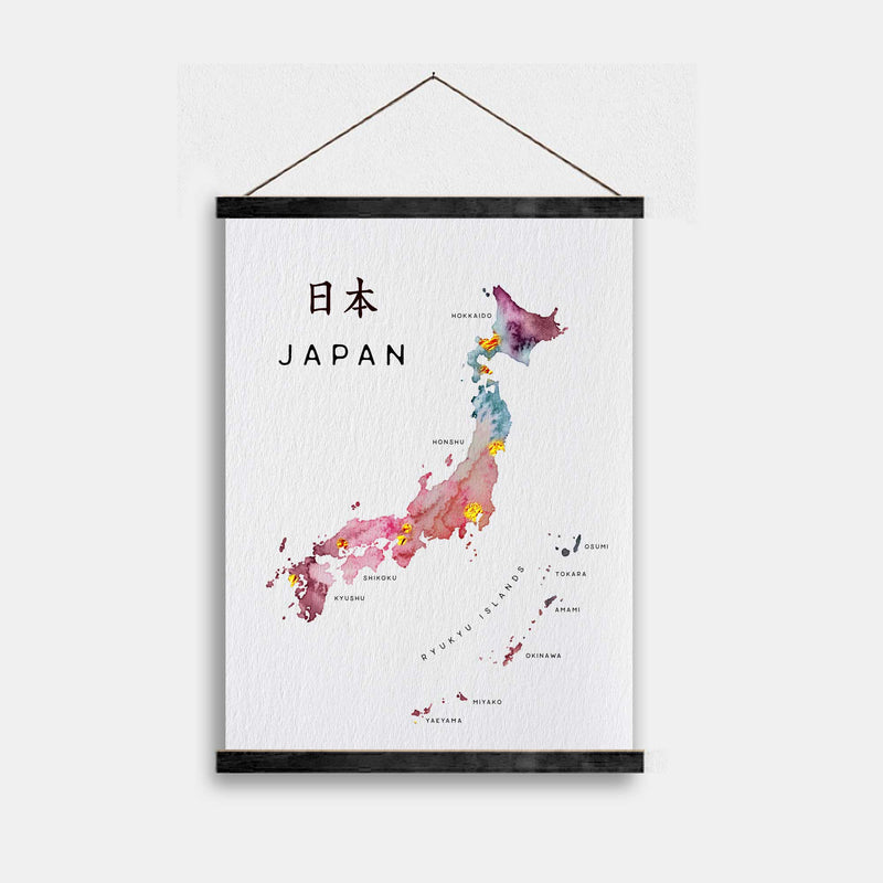 Japan Watercolour Gold Map