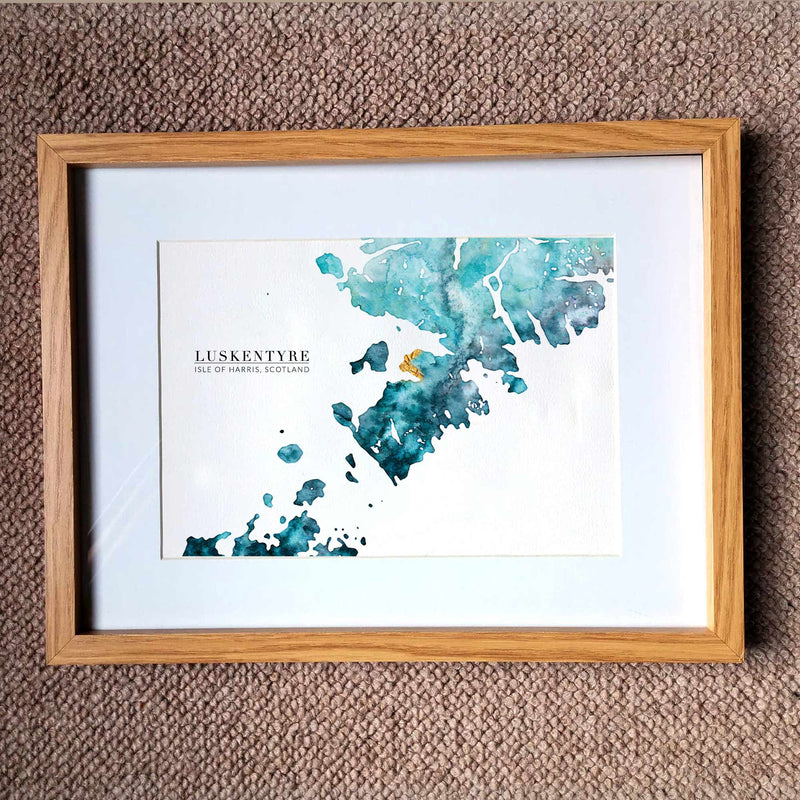 Isle of Harris Golden Watercolour Map