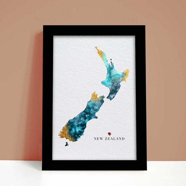 New Zealand Watercolour Map Personalised Gift