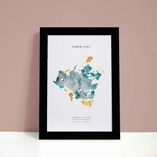 Uist Outer Hebrides Watercolour Map of Scotland