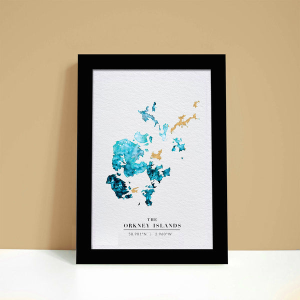 Orkney Watercolour Gold Map Print - EJayDesign