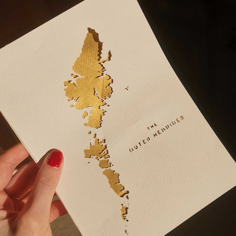 Outer Hebrides Map Cut Out Greetings Card