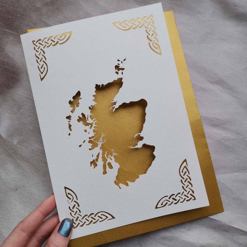 Scotland Cut Out Map Greeting Card