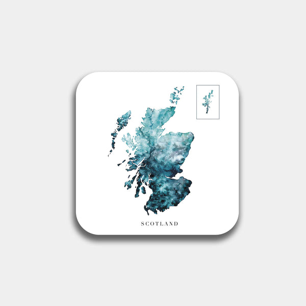 Scottish Watercolour Map Coaster Gift