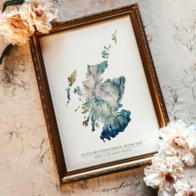 Scotland Watercolour Gold Map Print