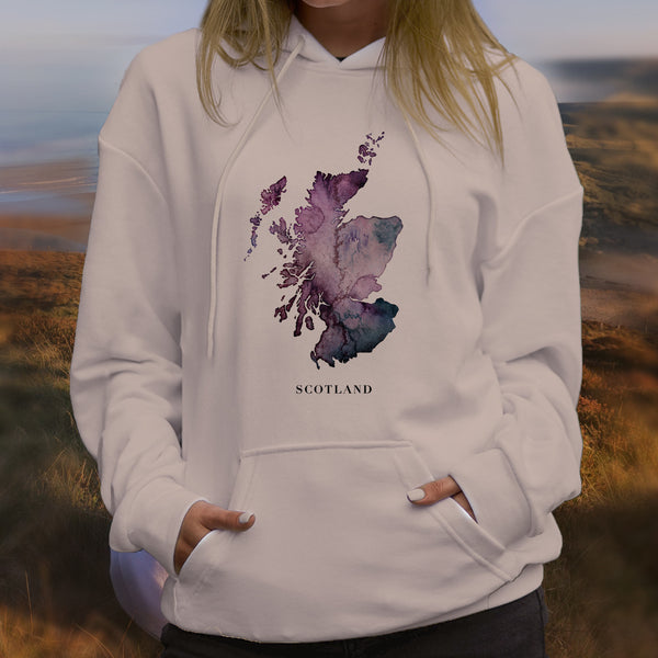 Unisex Scottish Hoodie Watercolour Map
