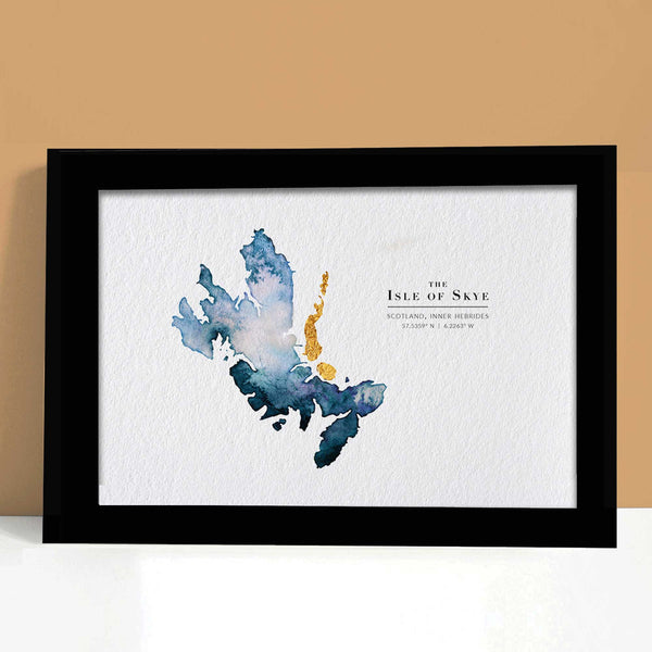 Skye Watercolour Map Custom Gift