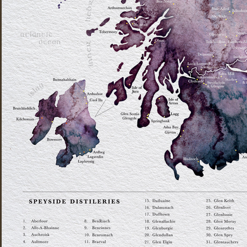 Scottish Whisky Distillery Map - EJayDesign