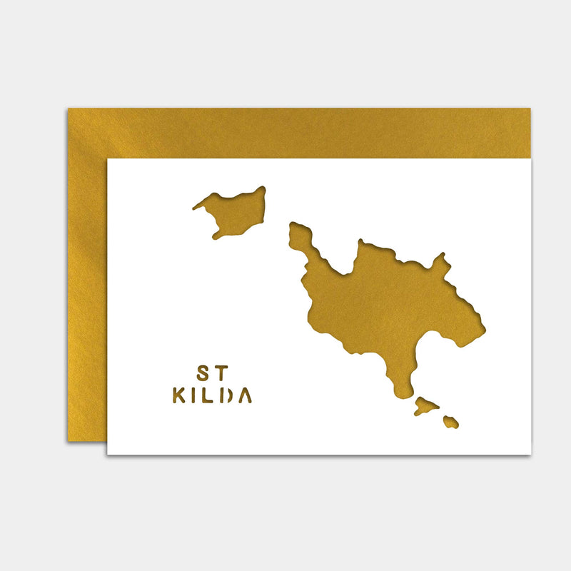 St Kilda Cut Out Map Greeting Card