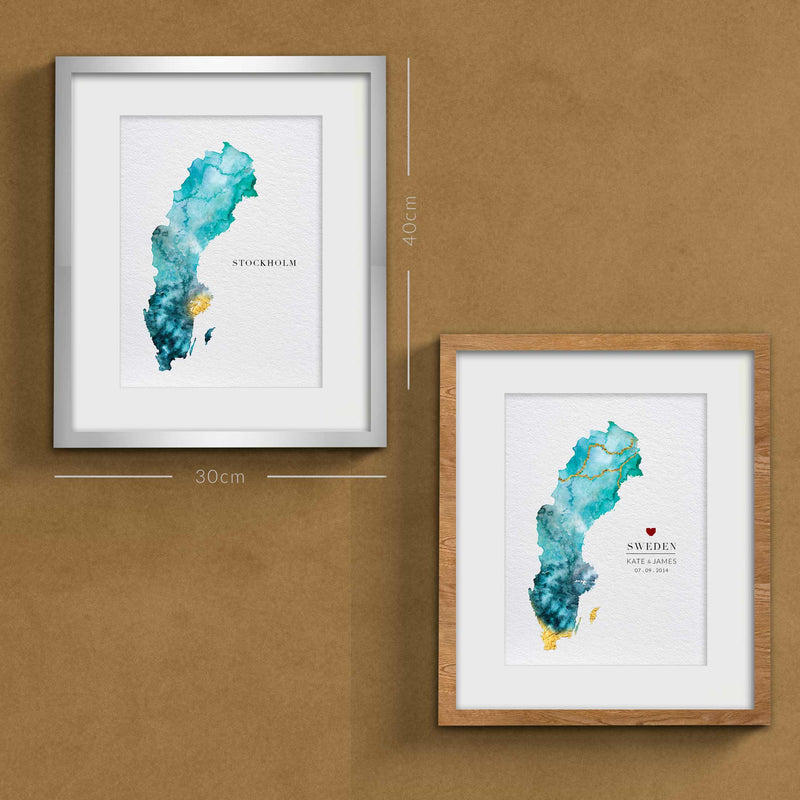 Sweden Watercolour Personal Wedding Gift Map