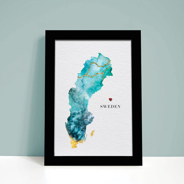 Sweden Watercolour Map