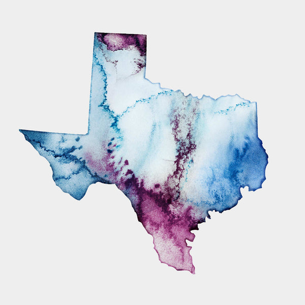 Texas Watercolour Map - EJayDesign