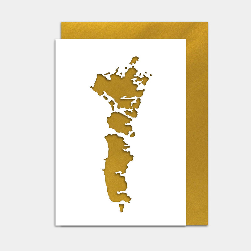 Uist Cut Out Map Greeting Card