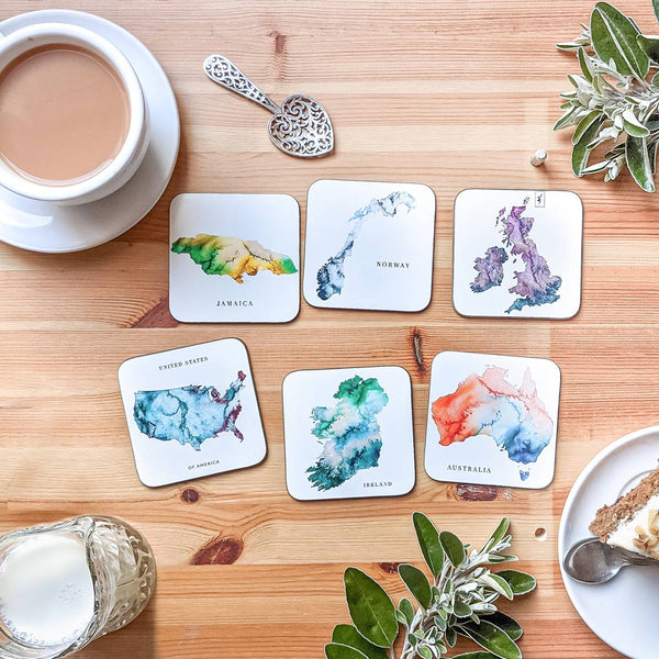 watercolour map table coasters