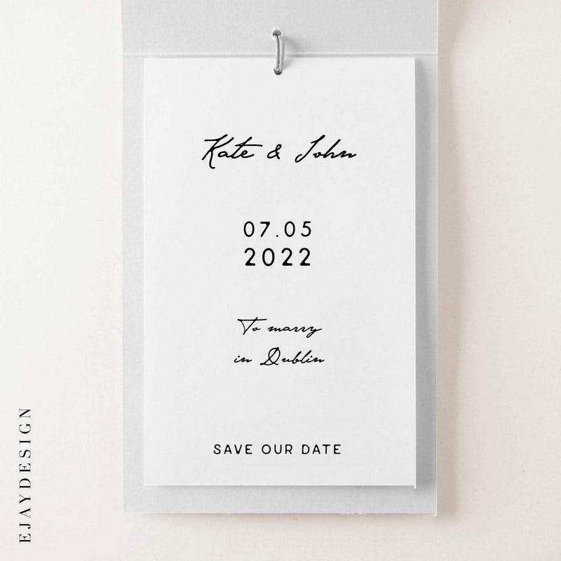Map Save the Date Watercolour Booklet
