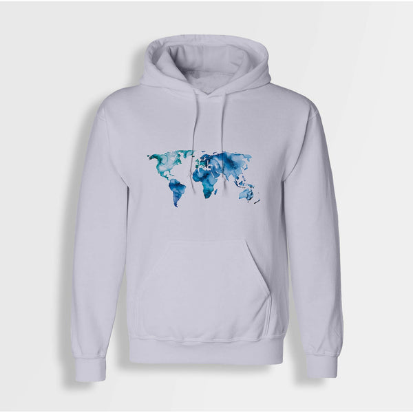 Watercolour World Map Unisex Hoodie