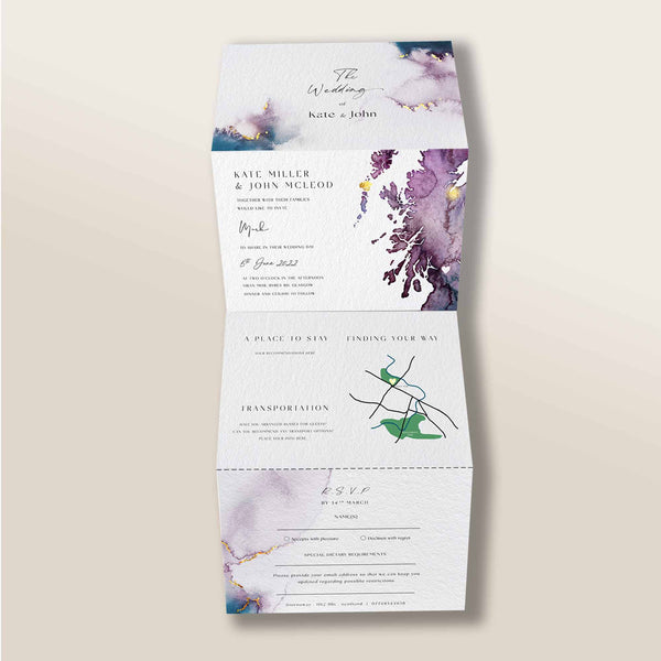 Fold Out Watercolour Wedding Invite