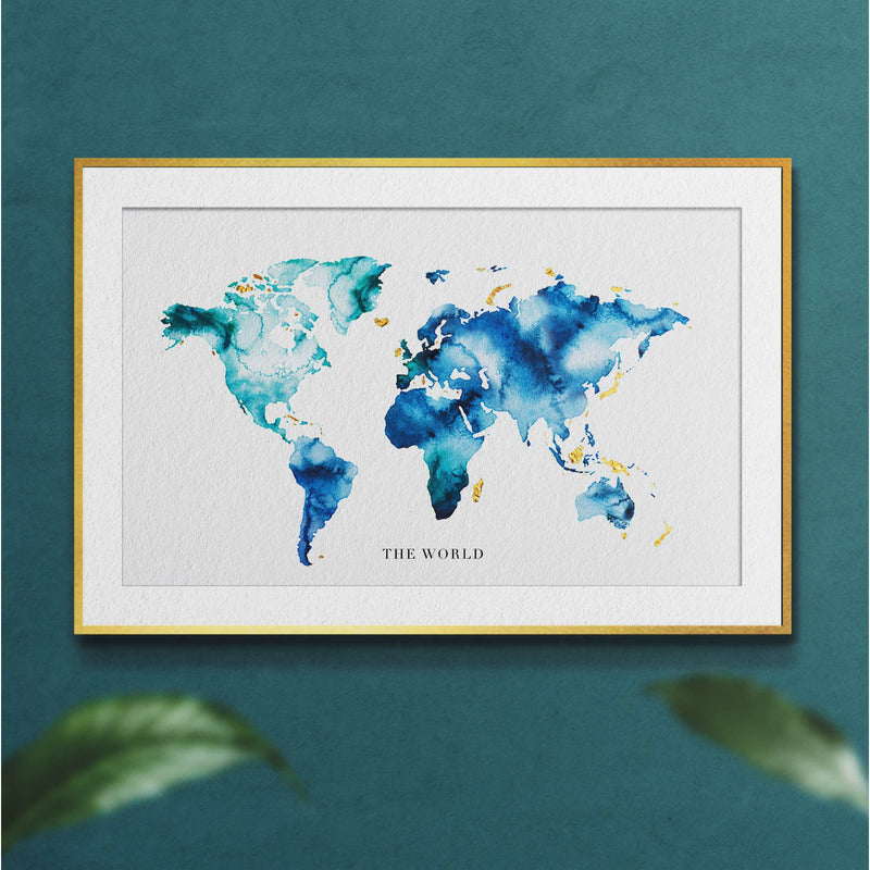 Globe Watercolour Gold Map